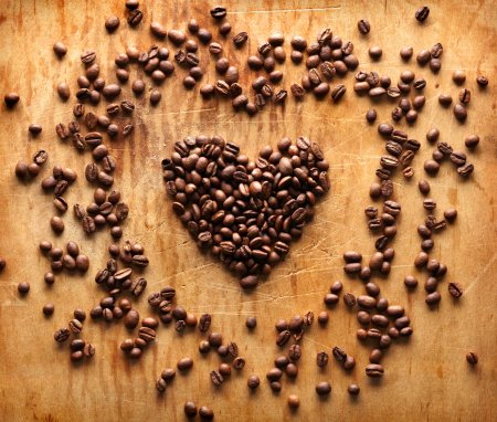 Heart shape from brown coffee beans