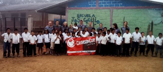 Crimson Cup and Ohio State Students with elementary school students from El Socorro, Honduras