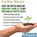Crimson Cup Coffee House gives away coffee sacks on Earth Day
