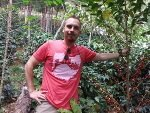 Brandon Bir on coffee farm in Peru