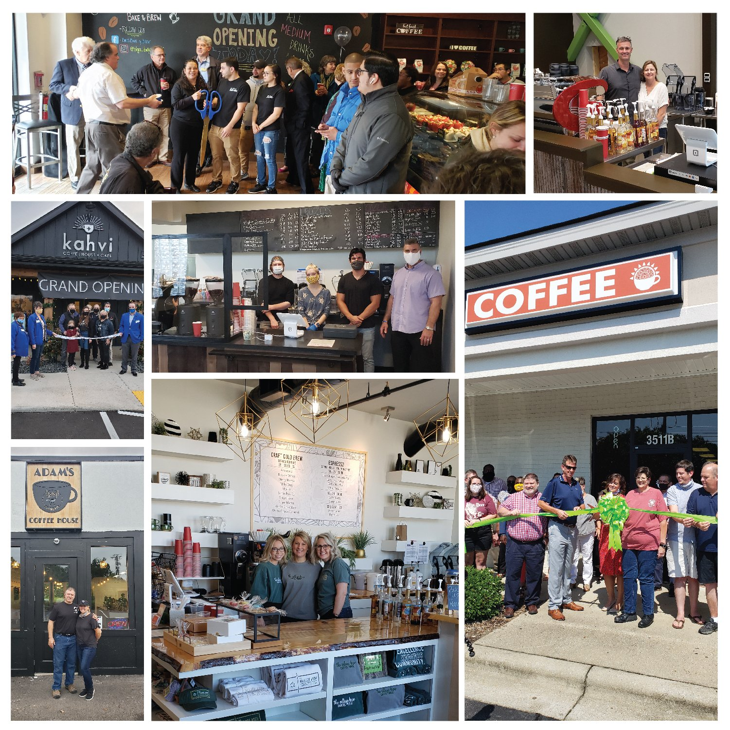 Collage of independent coffee shops supported by Crimson Cup Coffee & Tea