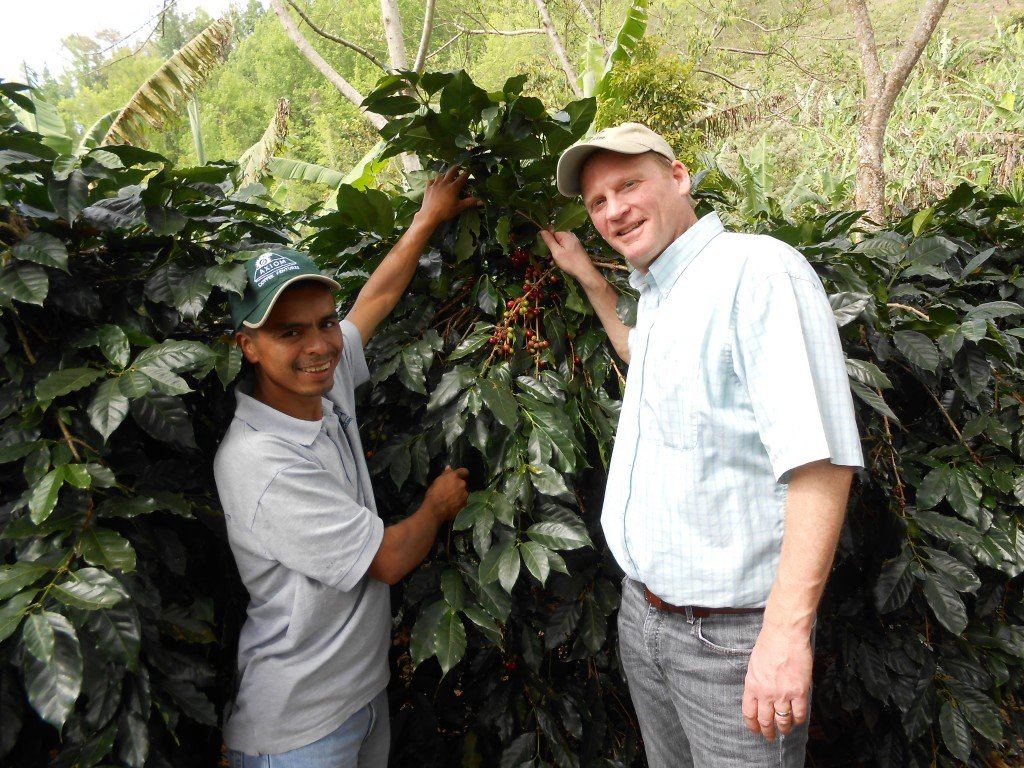 Coffee Farmer David Lopez and Crimson Cup Coffee & Tea President Greg Ubert