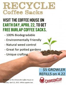 Crimson Cup giving away coffee sacks on Earth Day