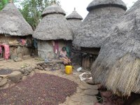 Coffee beans drying in a family compound at a village near Konso, Ethiopia.