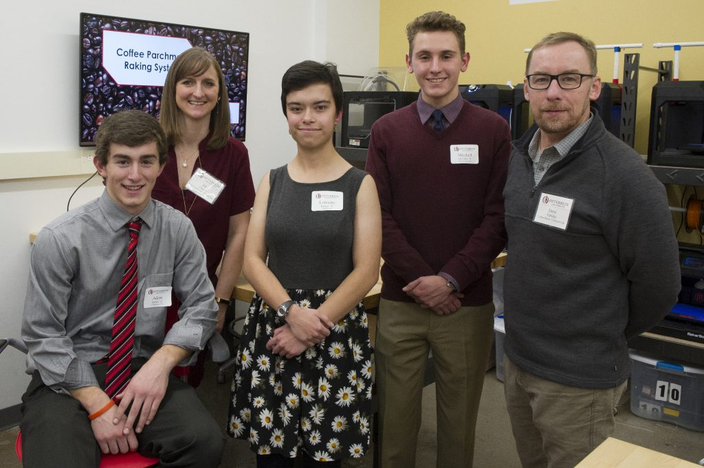 Otterbein engineering students with coffee buyer Dave Eldridge from Crimson Cup Coffee & Tea