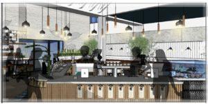 Elevation of new Crimson coffee shop by Crimson Cup Coffee & Tea