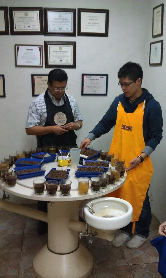Jorge and his father in their cupping lab, Antigua, Guatemala