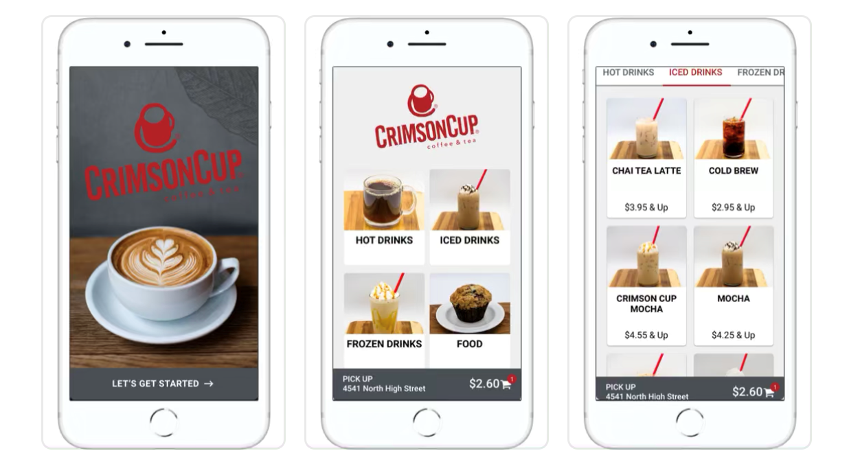 Crimson Cup contactless ordering app