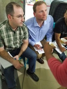 Greg Ubert and Steve Bayless of Crimson Cup Coffee & Tea judge Bangladesh Barista Competition