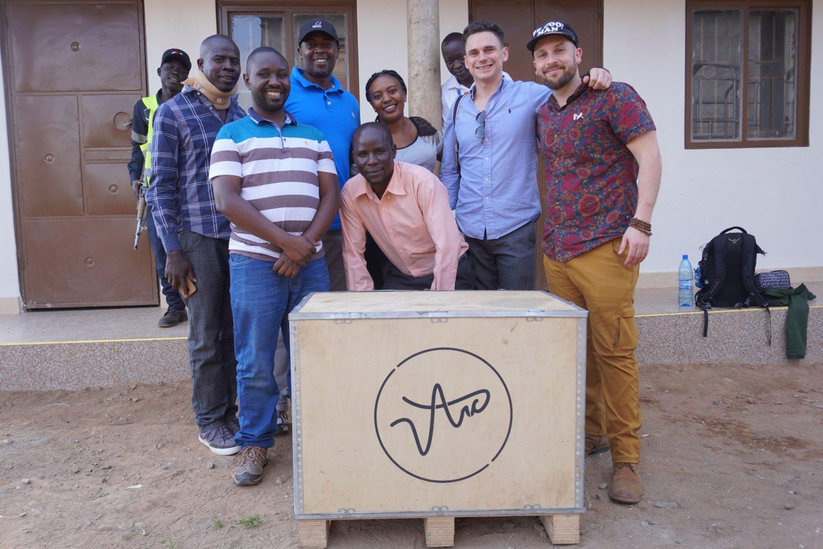 Brandon Bir with coffee farmers in Uganda