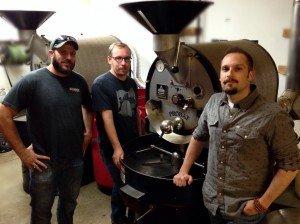 Crimson Cup's coffee team Chis Shegitz, Dave Eldridge, Brandon Bir