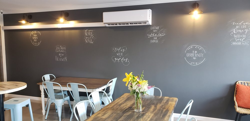 Tables and blackboard at Cornerstone Coffee House - Norris City