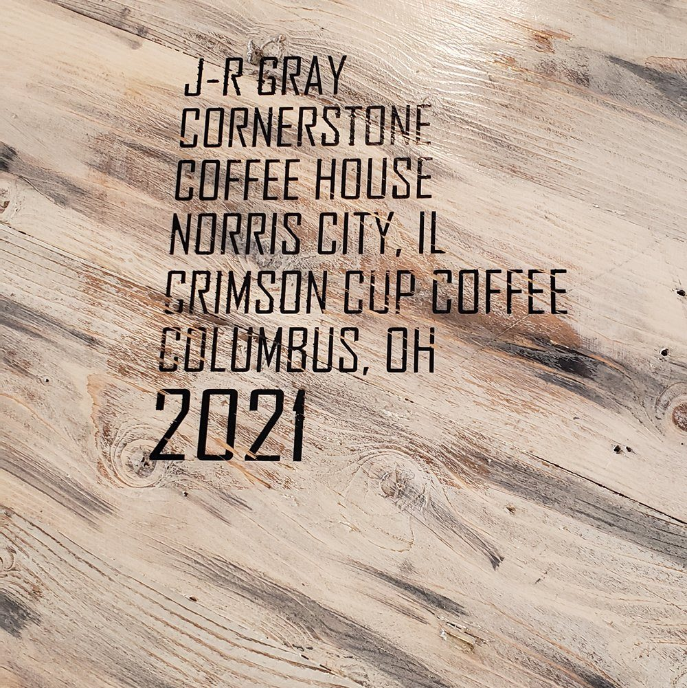Engraving on table at Cornerstone Coffee House - Norris City