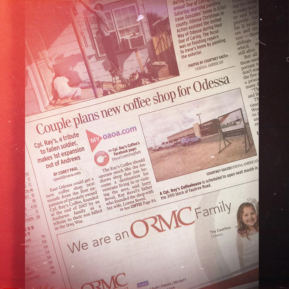 Newspaper story about Cpl Rays Coffee Odessa Texas