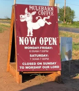 Photo of sign for Mulebarn Coffee in Hawley Texas