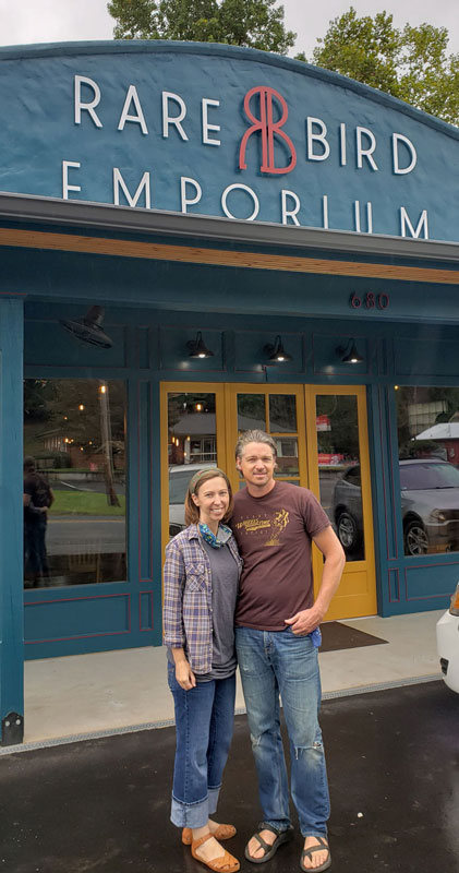 Kate and Pav Templeton in front of Rare Bird Emporium