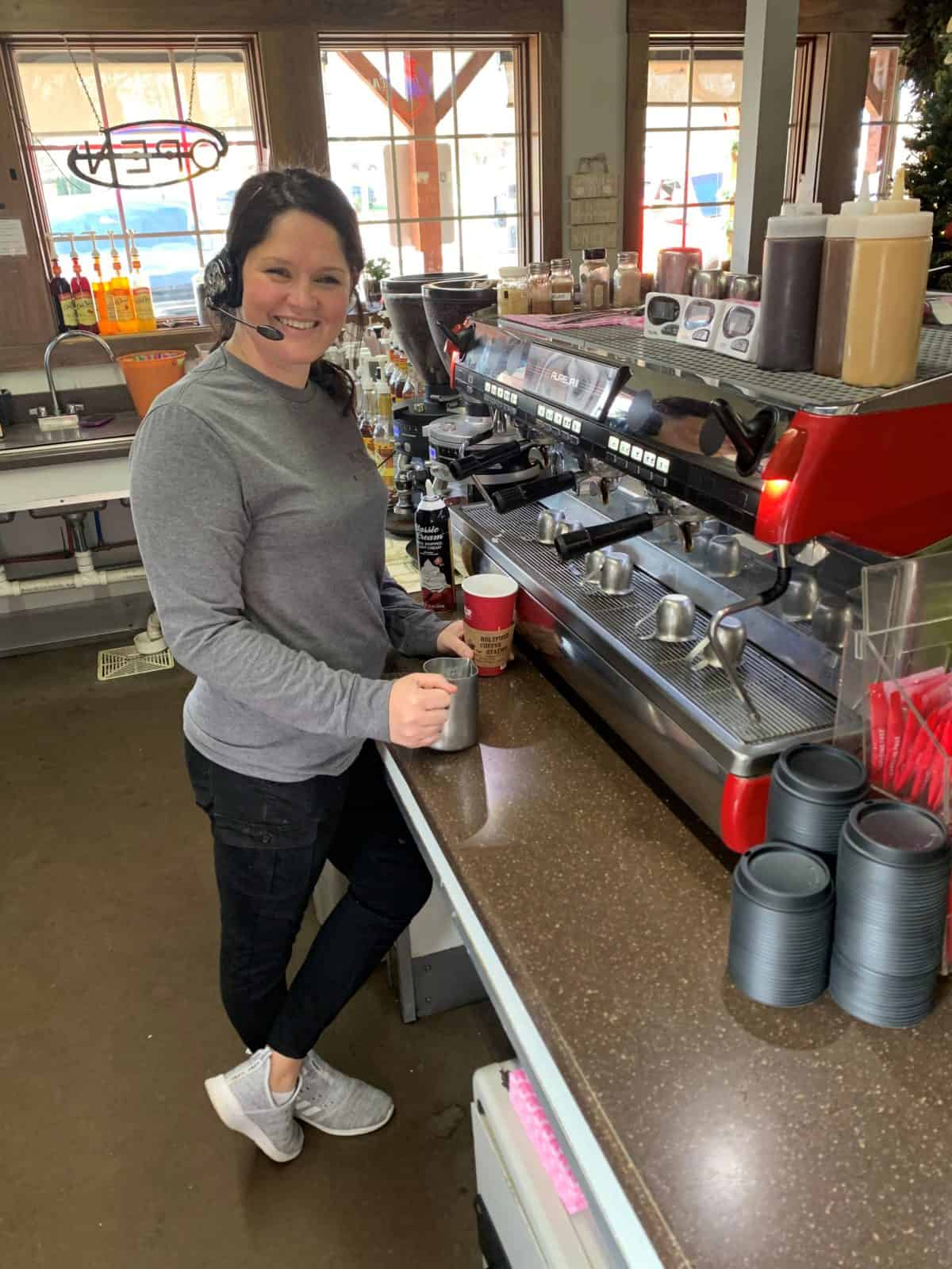 Barista at Holtfield Coffee Station in Hillsboro, Ohio