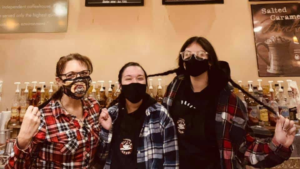 Owner Kat Bissell with Baristas at The Coffee Attic & Book Cellar