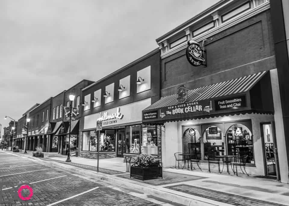 Black & White Streetscape of The Coffee Attic & Book Cellar
